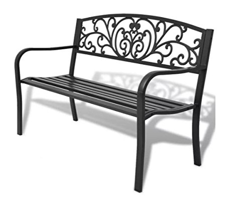 ComfyLeads-Garden-Bench-Made-of-Steel-Frame-and-Cast-Iron-Backrest-0
