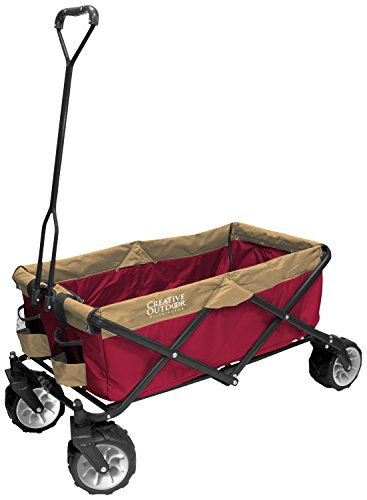 Creative-Outdoor-Distributor-All-Terrain-Folding-SPORTs-Team-Wagon-RedBrown-Multipurpose-Cart-for-Gardening-Camping-Beach-Trips-and-Travelling-0