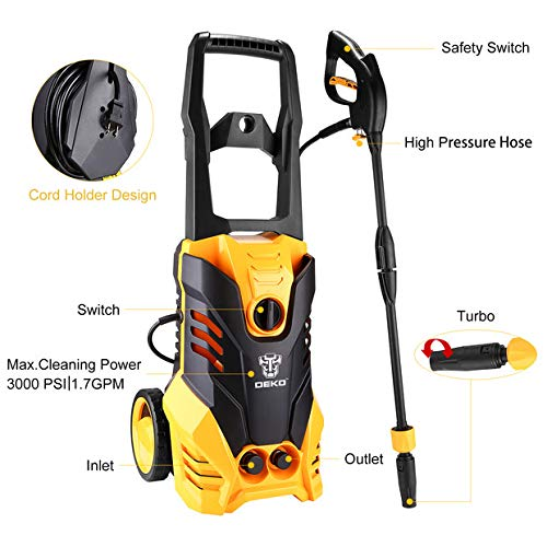 DEKOPRO-3000-PSI-17-GPM-Electric-Pressure-WasherHigh-Pressure-Cleaner-with-Turbo-Nozzle1800W-Rolling-Wheels-with-Temperature-Sensor-0-0