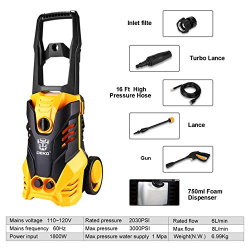 DEKOPRO-3000-PSI-17-GPM-Electric-Pressure-WasherHigh-Pressure-Cleaner-with-Turbo-Nozzle1800W-Rolling-Wheels-with-Temperature-Sensor-0-1