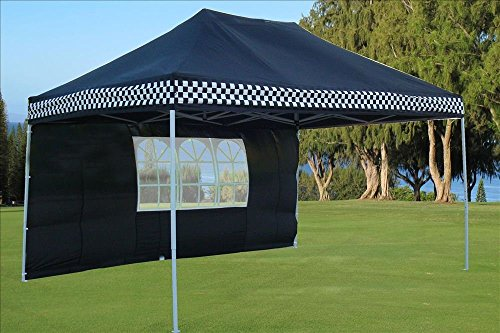 DELTA-Canopies-10×15-Ez-Pop-up-Canopy-Party-Tent-Instant-Gazebos-100-Waterproof-Top-with-4-Removable-Sides-Black-Checker-E-Model-0-0