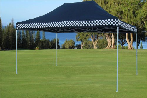 DELTA-Canopies-10×15-Ez-Pop-up-Canopy-Party-Tent-Instant-Gazebos-100-Waterproof-Top-with-4-Removable-Sides-Black-Checker-E-Model-0-1