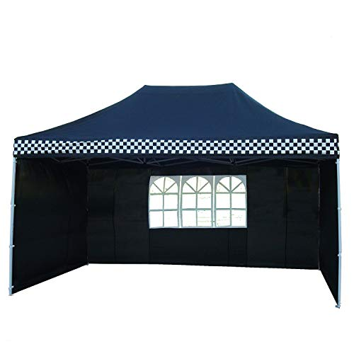 DELTA-Canopies-10×15-Ez-Pop-up-Canopy-Party-Tent-Instant-Gazebos-100-Waterproof-Top-with-4-Removable-Sides-Black-Checker-E-Model-0