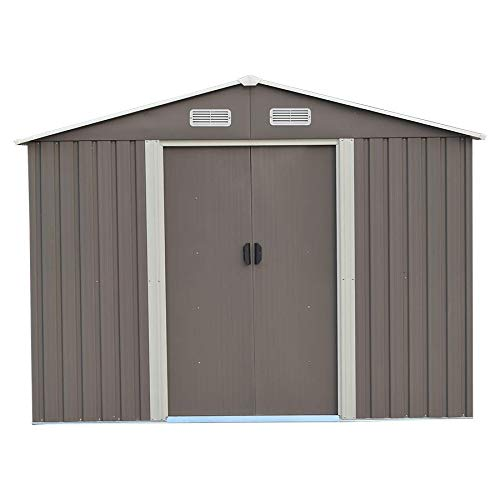 DOIT-Outdoor-Metal-Steel-Low-Gable-Storage-Shed-with-Floor-Frame-Foundation-Gray-Tool-Utility-for-Garden-Backyard-Lawn-0