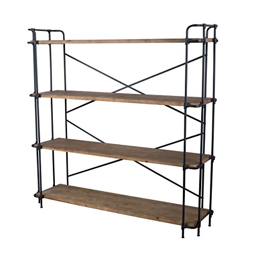 Danielle-Natural-Wood-Finish-Outdoor-Iron-4-Shelf-Bookcase-0-0