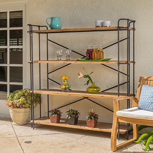 Danielle-Natural-Wood-Finish-Outdoor-Iron-4-Shelf-Bookcase-0
