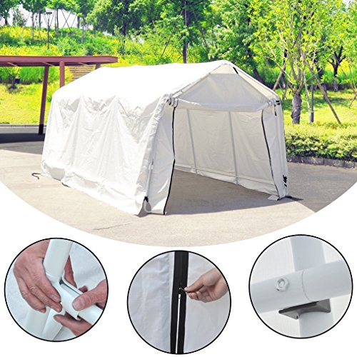 Deari-10-x-15-Feet-Heavy-Duty-Carport-Outdoor-Portable-Car-Canopy-Shelter-with-Removable-Side-Panels-Doors-and-8-Steel-Legs-White-0-1