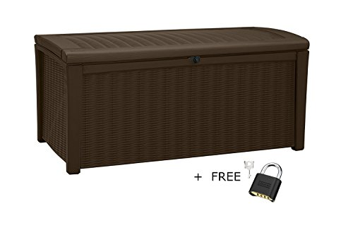 Deck-Box-for-Patio-Pool-Storage-Bench-in-Resin-110-Gallon-Extra-Large-Outdoor-Design-With-FREE-Padlock-0