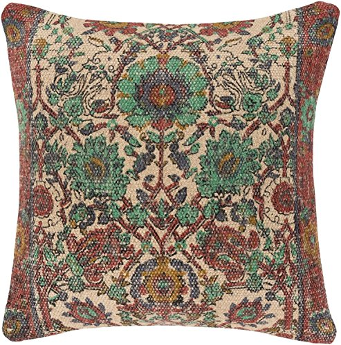 Diva-At-Home-30-Rose-and-Grass-Green-Floral-Pattern-Woven-Square-Throw-Pillow-with-Knife-Edge-Down-Filler-0