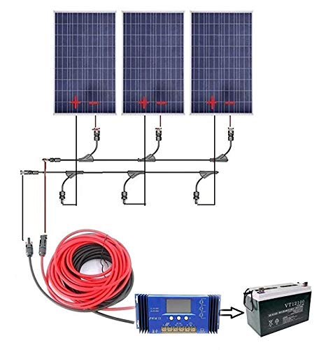 ECO-WORTHY-300W-Complete-Solar-Kit-12v-Battery-Charger-3pcs-100W-Panels-Solar-Cable-60A-PWM-Charge-Controller-MC4-Branch-Connectors-Z-Bracket-Mounts100Ah-12V-Sealed-Lead-Acid-Battery-0