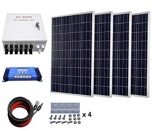 ECO-WORTHY-400-Watts-Solar-System-4pcs-100W-Poly-Solar-Panel-60A-Charge-Controller-6-String-Solar-Combiner-24cm-Cable-Connector-0
