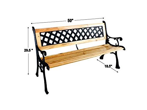 EZ-Travel-Collection-Traditional-Garden-Bench-Rustic-Patio-Porch-Bench-Park-Bench-Cast-Iron-Wood-0-0