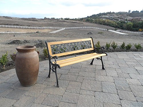 EZ-Travel-Collection-Traditional-Garden-Bench-Rustic-Patio-Porch-Bench-Park-Bench-Cast-Iron-Wood-0-1