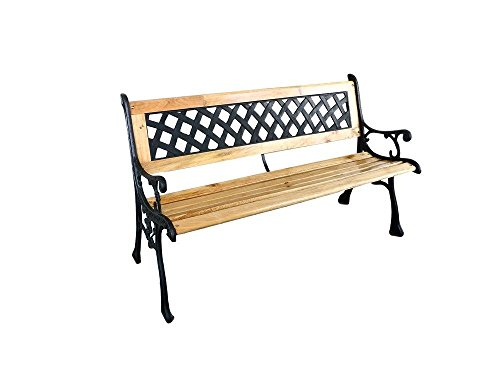 EZ-Travel-Collection-Traditional-Garden-Bench-Rustic-Patio-Porch-Bench-Park-Bench-Cast-Iron-Wood-0