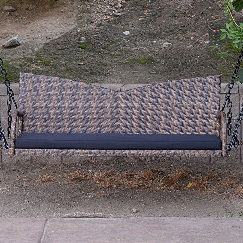 Espresso-52-Patio-Porch-Swing-Chair-Resin-Wicker-Tree-Ceiling-Hanger-Hanging-WChains-0