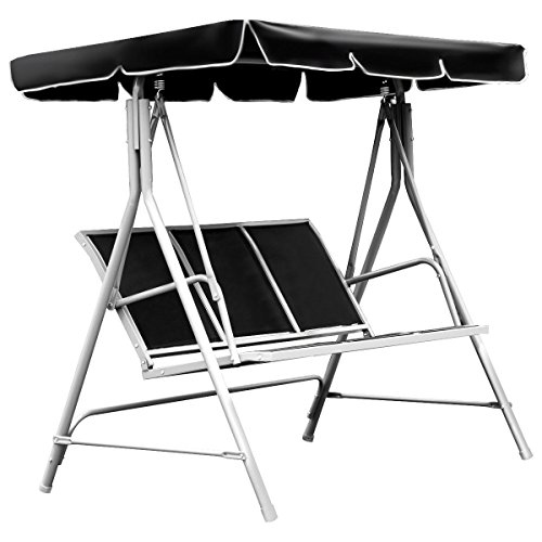 FDInspiration-Black-675-Patio-Textile-Fabric-Swing-Chair-Outdoor-Bench-Canopy-Sling-Chair-3-Person-0-0