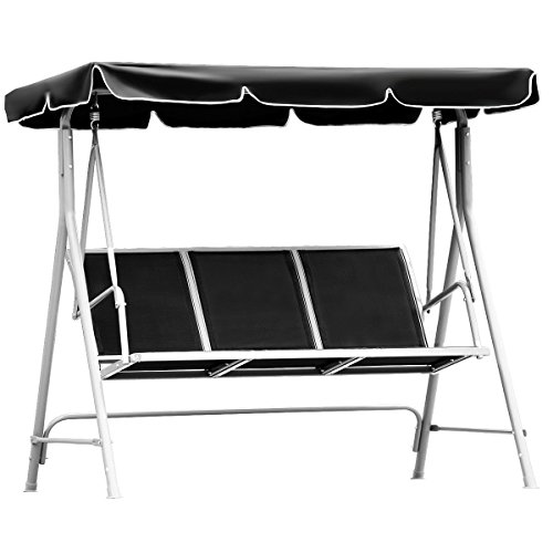 FDInspiration-Black-675-Patio-Textile-Fabric-Swing-Chair-Outdoor-Bench-Canopy-Sling-Chair-3-Person-0