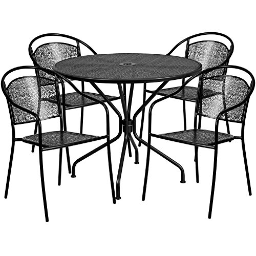 Flash-Furniture-3525-Round-Indoor-Outdoor-Steel-Patio-Table-Set-with-4-Round-Back-Chairs-0