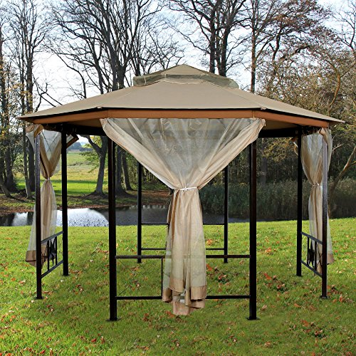 Furniture-Outdoor-Gazebo-12-x-12Patio-Gazebo-4-Mosquito-Netting-Garden-Metal-Gazebo-Vented-Garden-Party-Gazebo-Canopy-Tent-Double-Roof-Polyester-Fabric-Sand-0-0
