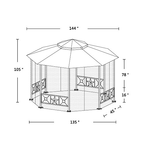 Furniture-Outdoor-Gazebo-12-x-12Patio-Gazebo-4-Mosquito-Netting-Garden-Metal-Gazebo-Vented-Garden-Party-Gazebo-Canopy-Tent-Double-Roof-Polyester-Fabric-Sand-0-1