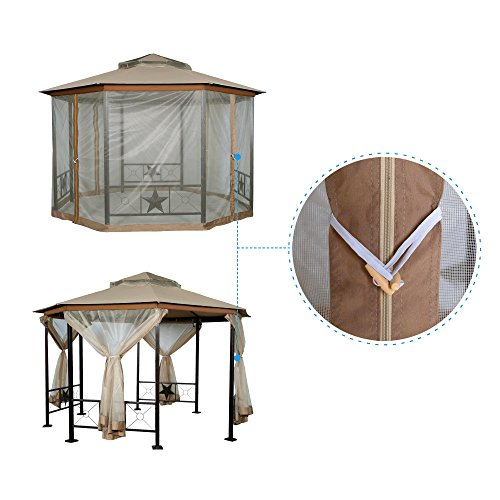 Furniture-Outdoor-Gazebo-12-x-12Patio-Gazebo-4-Mosquito-Netting-Garden-Metal-Gazebo-Vented-Garden-Party-Gazebo-Canopy-Tent-Double-Roof-Polyester-Fabric-Sand-0-2