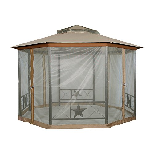 Furniture-Outdoor-Gazebo-12-x-12Patio-Gazebo-4-Mosquito-Netting-Garden-Metal-Gazebo-Vented-Garden-Party-Gazebo-Canopy-Tent-Double-Roof-Polyester-Fabric-Sand-0