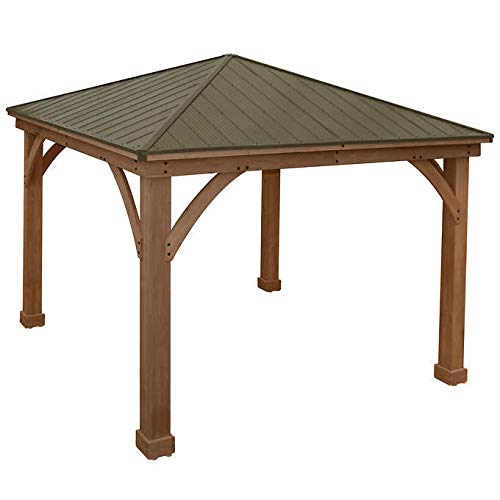 Gazebo-with-Aluminum-Roof-by-Yardistry-Cedar-Wood-12-x-12-Perfect-Addition-for-Patio-or-Garden-0