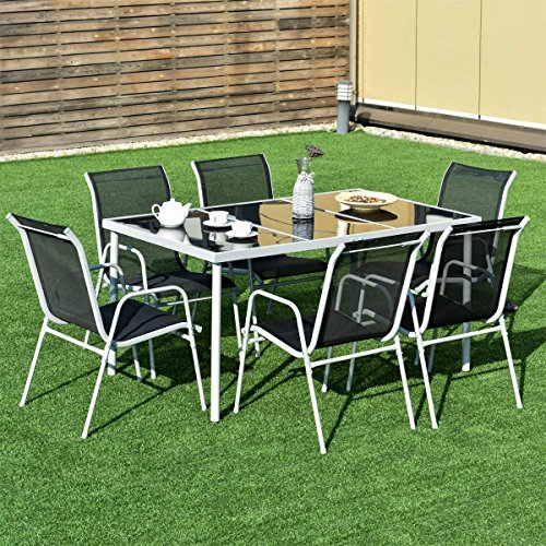 Giantex-7-Piece-Patio-Dining-Set-Outdoor-Lawn-Garden-Living-Furniture-Metal-Frame-Tempered-Glasstop-Cool-Textilene-Fabric-Chairs-Bistro-Patio-Dining-Table-Sets-Black-0-0