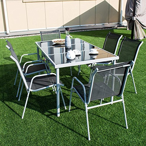 Giantex-7-Piece-Patio-Dining-Set-Outdoor-Lawn-Garden-Living-Furniture-Metal-Frame-Tempered-Glasstop-Cool-Textilene-Fabric-Chairs-Bistro-Patio-Dining-Table-Sets-Black-0-1