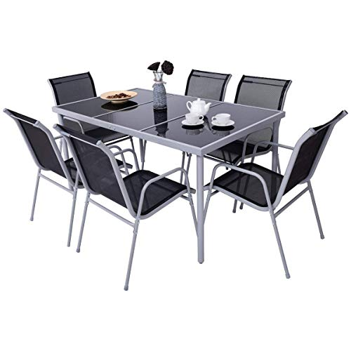 Giantex-7-Piece-Patio-Dining-Set-Outdoor-Lawn-Garden-Living-Furniture-Metal-Frame-Tempered-Glasstop-Cool-Textilene-Fabric-Chairs-Bistro-Patio-Dining-Table-Sets-Black-0-2