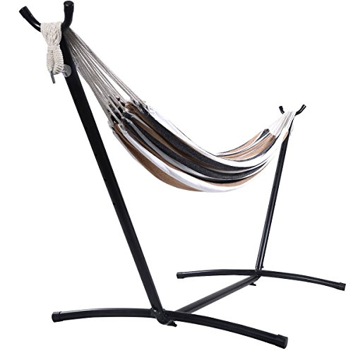 Giantex-Double-Hammock-with-Space-Saving-Steel-Stand-WPortable-Carry-Bag-Powerful-Capacity-0-2