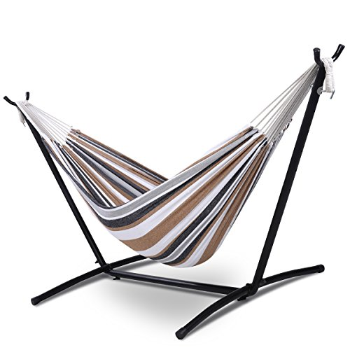 Giantex-Double-Hammock-with-Space-Saving-Steel-Stand-WPortable-Carry-Bag-Powerful-Capacity-0