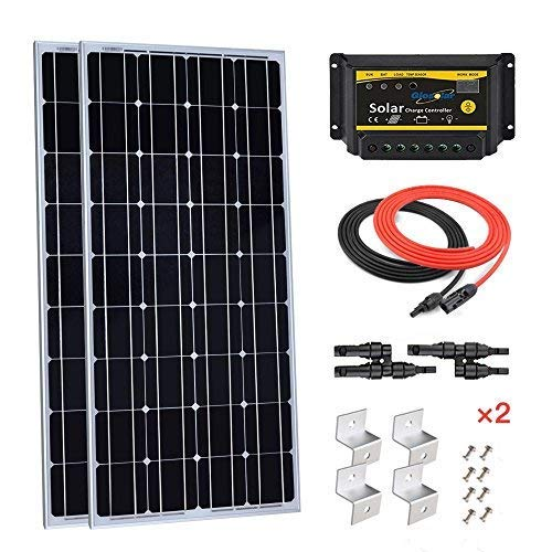 Giosolar-200W-12V-Solar-Panel-Starter-Kit-2pcs-100W-Monocrystalline-Solar-Panel-with-20A-LED-Charge-Controller-for-RV-Boat-Off-Grid-0