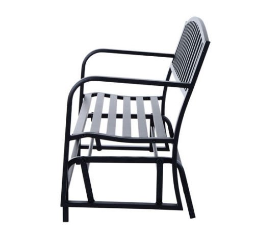 Globe-House-Products-GHP-Outdoor-505-Wx26-Dx35-H-Powder-Coated-Steel-Freestanding-Swing-Glider-Bench-0-2