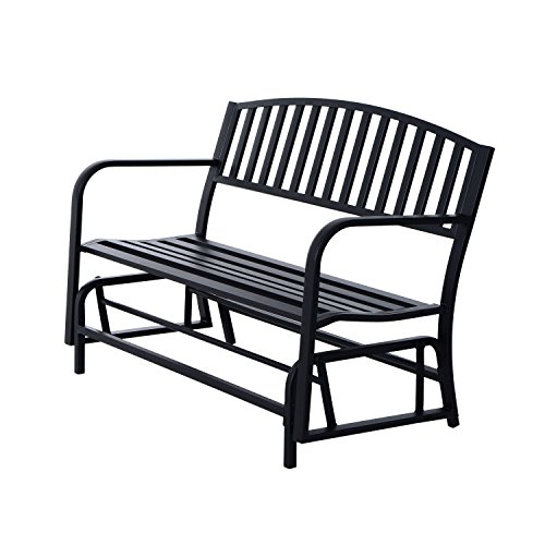 Globe-House-Products-GHP-Outdoor-505-Wx26-Dx35-H-Powder-Coated-Steel-Freestanding-Swing-Glider-Bench-0
