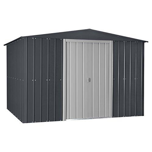 Globel-GL1009-Gable-Outdoor-Storage-Shed-Slate-GrayAluminum-White-0
