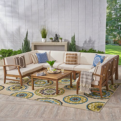 Great-Deal-Furniture-Judith-Outdoor-9-Seater-Acacia-Wood-Sectional-Sofa-Set-with-Cushions-Teak-with-Cream-Cushions-0