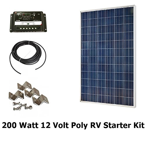 Infinium-200-Watt-Solar-Panel-Complete-Off-Grid-RV-Boat-Kit-2-x-100-Watt-30-AMP-USB-PWM-Charge-Controller-30-Solar-Cable-Z-Mounting-Brackets-0