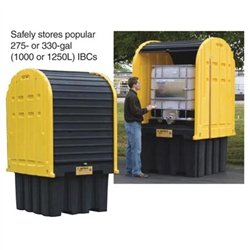 Justrite-Outdoor-IBC-Storage-Shed-and-Secondary-Containment-Yellow-0