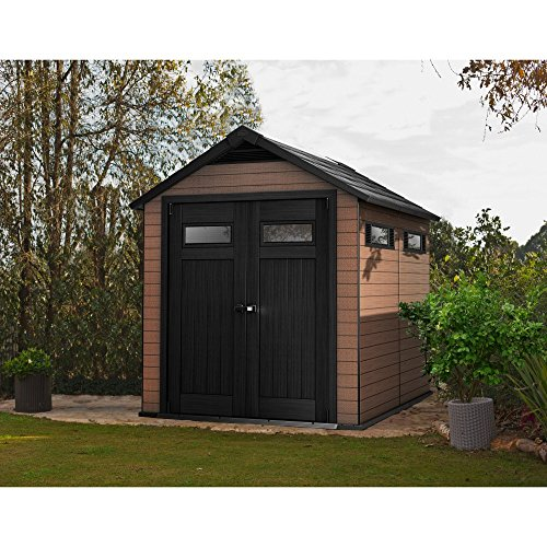 Keter-Fusion-Large-75-x-9-ft-Wood-Plastic-Outdoor-Yard-Garden-Composite-Storage-Shed-0