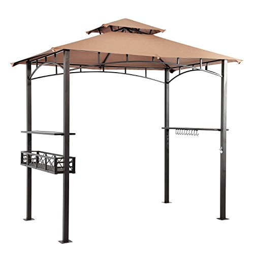 LCH-8-x-5-ft-Grill-Gazebo-Patio-BBQ-Shelter-Outdoor-Barbecue-Double-Tier-Soft-Top-Canopy-Beige-0