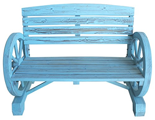 Leigh-Country-TX-93974-Blue-Wash-Wagon-Wheel-Wooden-Bench-0-0