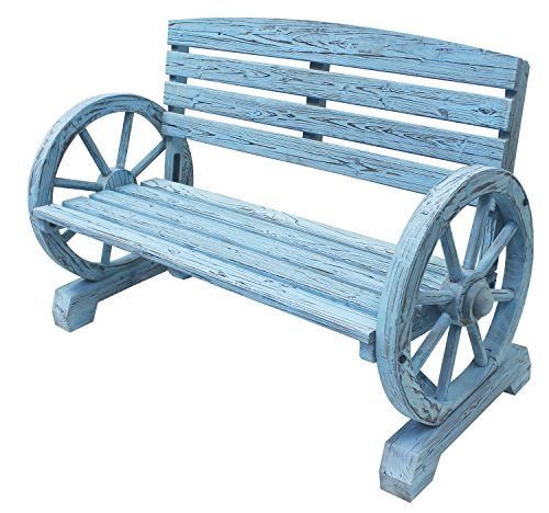 Leigh-Country-TX-93974-Blue-Wash-Wagon-Wheel-Wooden-Bench-0-1