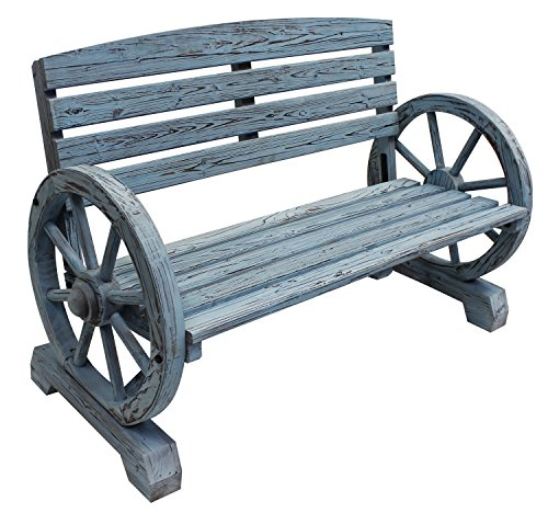 Leigh-Country-TX-93974-Blue-Wash-Wagon-Wheel-Wooden-Bench-0