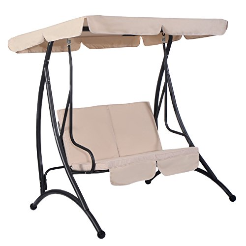 MD-Group-Canopy-Swing-Chair-Outdoor-Balcony-2-Person-Seats-Beige-Fabric-Waterproof-0-0