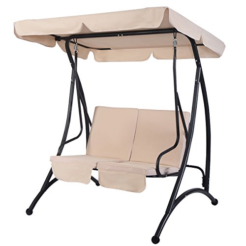 MD-Group-Canopy-Swing-Chair-Outdoor-Balcony-2-Person-Seats-Beige-Fabric-Waterproof-0-1