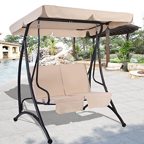 MD-Group-Canopy-Swing-Chair-Outdoor-Balcony-2-Person-Seats-Beige-Fabric-Waterproof-0