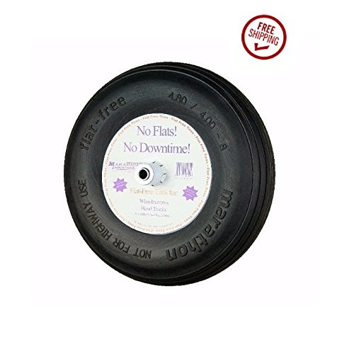 Marathon-155-Solid-Flat-Kart-Tire-480400-8-Ribbed-34-ID-and-6-Hub-0-1