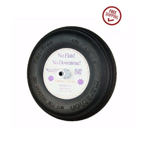 Marathon-155-Solid-Flat-Kart-Tire-480400-8-Ribbed-34-ID-and-6-Hub-0