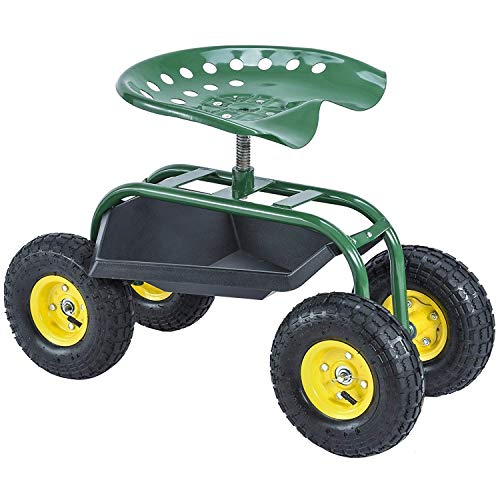 Mecor-Garden-Cart-Rolling-Work-Seat-with-Heavy-Duty-Tool-Tray-Gardening-Planting-Cart-330Ibs-Green-0